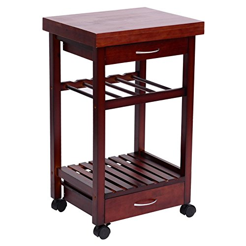 HomCom-19-in-Rolling-Wooden-Storage-Cart-Kitchen-Trolley-with-Drawers-and-Wine-Rack-0
