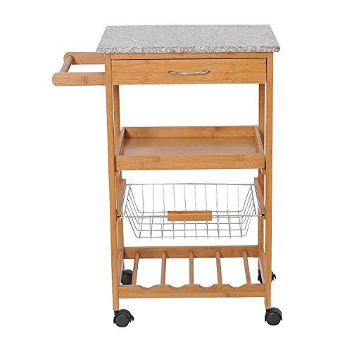 HomCom-31-in-Rolling-Wooden-Kitchen-Trolley-Cart-with-Wine-Rack-Granite-Top-0-0
