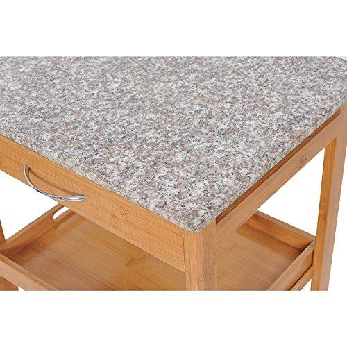 HomCom-31-in-Rolling-Wooden-Kitchen-Trolley-Cart-with-Wine-Rack-Granite-Top-0-1