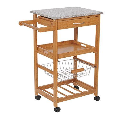 HomCom-31-in-Rolling-Wooden-Kitchen-Trolley-Cart-with-Wine-Rack-Granite-Top-0