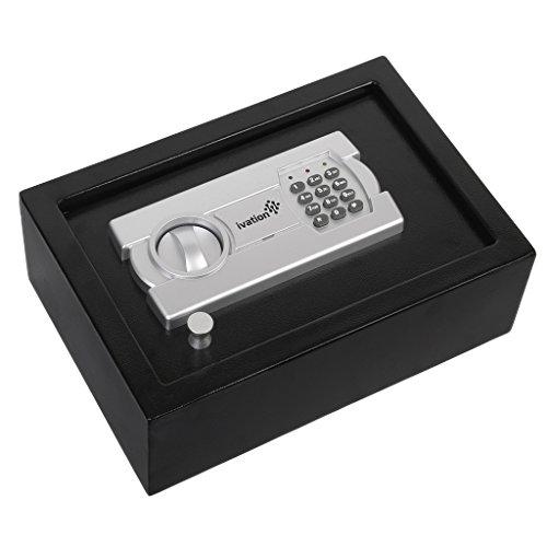 Ivation-Electronic-Gun-Drawer-Safe-wFull-Digit-Keypad-Override-Keys-Solid-Steel-Construction-Hidden-WallFloor-Anchoring-Design-Runs-on-4-AA-Batteries-Included-0