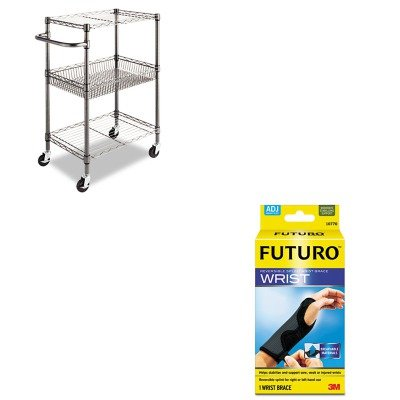 KITALESW342416BAMMM10770EN-Value-Kit-Best-Three-Tier-Wire-Rolling-Cart-ALESW342416BA-and-Futuro-Adjustable-Reversible-Splint-Wrist-Brace-MMM10770EN-0