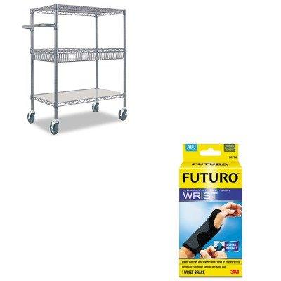 KITALESW543018BAMMM10770EN-Value-Kit-Best-Three-Tier-Wire-Rolling-Cart-ALESW543018BA-and-Futuro-Adjustable-Reversible-Splint-Wrist-Brace-MMM10770EN-0