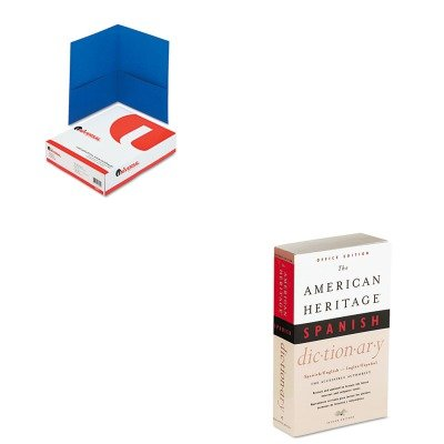 KITHOUH21079UNV56601-Value-Kit-HOUGHTON-MIFFLIN-COMPANY-American-Heritage-Office-Spanish-Dictionary-HOUH21079-and-Universal-Two-Pocket-Portfolio-UNV56601-0