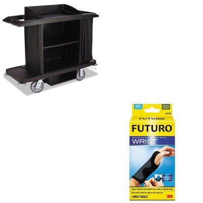 KITMMM10770ENRCPFG618900BLA-Value-Kit-Rubbermaid-Housekeeping-Cart-RCPFG618900BLA-and-Futuro-Adjustable-Reversible-Splint-Wrist-Brace-MMM10770EN-0