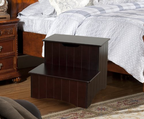 Kings-Brand-Large-Cherry-Finish-Wood-Bedroom-Step-Stool-With-Storage-0