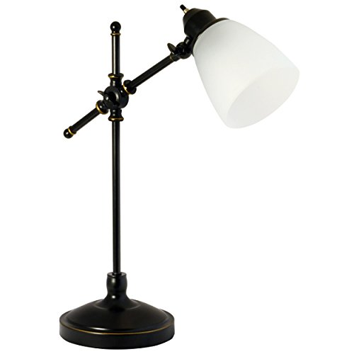Light-Accents-Antique-Style-Desk-Lamp-with-Black-with-Gold-Trim-and-Frosted-White-Glass-Shade-Desk-Light-0