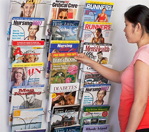 Literature-Storage-Racks-21-Pocket-Brochure-Holders-for-85-x-11-Magazines-Wall-Mounted-Chrome-Finish-0-1