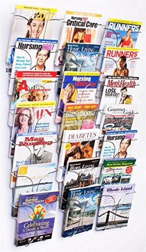 Literature-Storage-Racks-21-Pocket-Brochure-Holders-for-85-x-11-Magazines-Wall-Mounted-Chrome-Finish-0