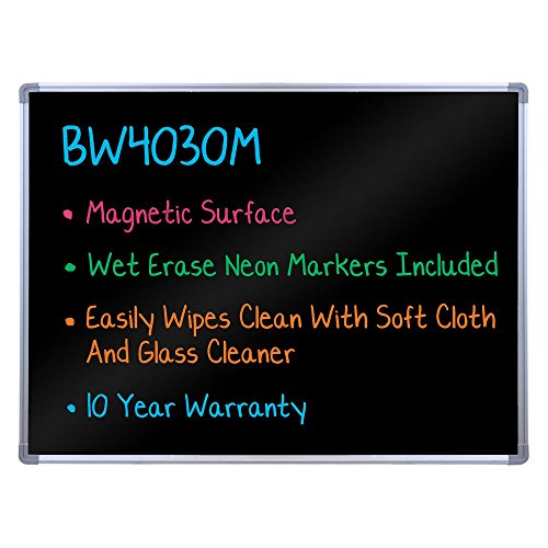 Luxor-BW4030M-Wall-Mount-Black-Marker-Board-Model-with-Magnetic-Surface-Gloss-Black-0