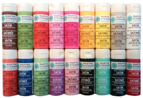 Martha-Stewart-Crafts-Multi-Surface-Satin-Acrylic-Craft-Paint-Set-2-Ounce-PROMO767B-Bright-18-Pack-0