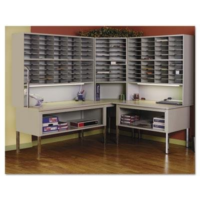 Mayline-Mailflow-To-Go-Systems-2-Tier-Elevated-Sorter-with-50-Pockets-Pebble-Gray-Paint-0-0