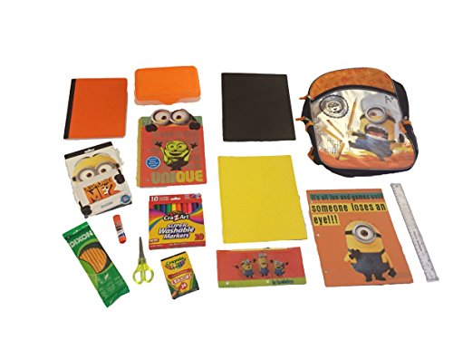 Minons-Despicable-Me-15-piece-School-Set-Bundle-16-inch-Backpack-Notebook-Pencils-Crayons-Markers-Scissors-and-More-0