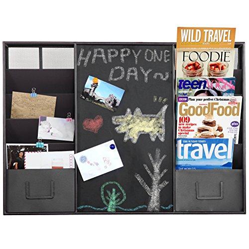 Modern-Wall-Mounted-Metal-Memo-Chalk-Board-10-Slot-Document-Organizer-Mail-Sorter-Rack-MyGift-0-0