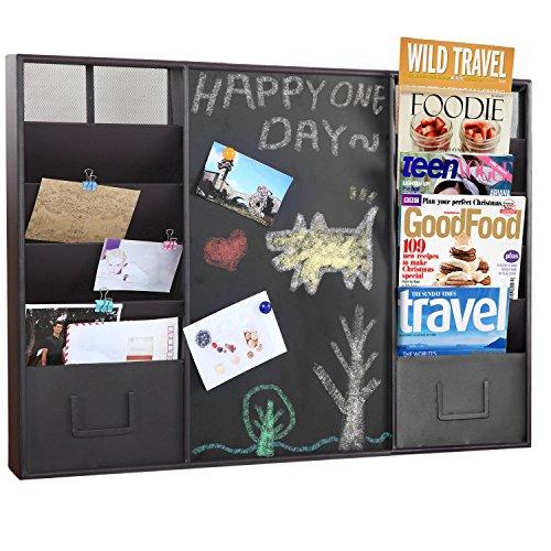 Modern-Wall-Mounted-Metal-Memo-Chalk-Board-10-Slot-Document-Organizer-Mail-Sorter-Rack-MyGift-0