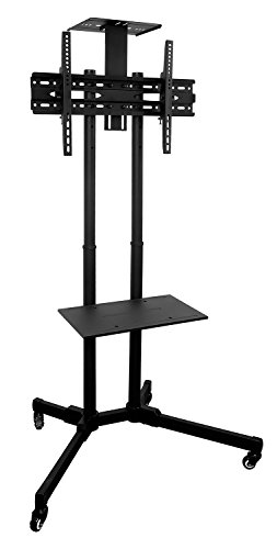 Mount-It-MI-876-TV-Cart-Mobile-TV-Stand-Wheeled-Height-Adjustable-Flat-Screen-Television-Stands-with-Rolling-Casters-and-Shelf-VESA-Compatible-TV-Mount-Bracket-Fits-Displays-37-to-70-Inch-110-Lbs-0