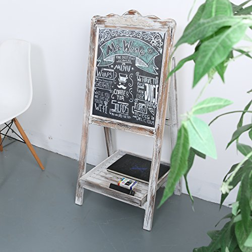 MyGift-Vintage-Style-White-Washed-Brown-Wood-Chalk-Board-Easel-Freestanding-Guest-Message-Sign-Board-0-0