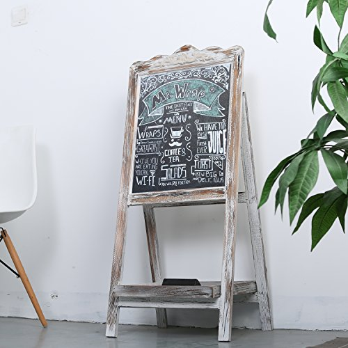 MyGift-Vintage-Style-White-Washed-Brown-Wood-Chalk-Board-Easel-Freestanding-Guest-Message-Sign-Board-0-1