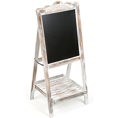 MyGift-Vintage-Style-White-Washed-Brown-Wood-Chalk-Board-Easel-Freestanding-Guest-Message-Sign-Board-0