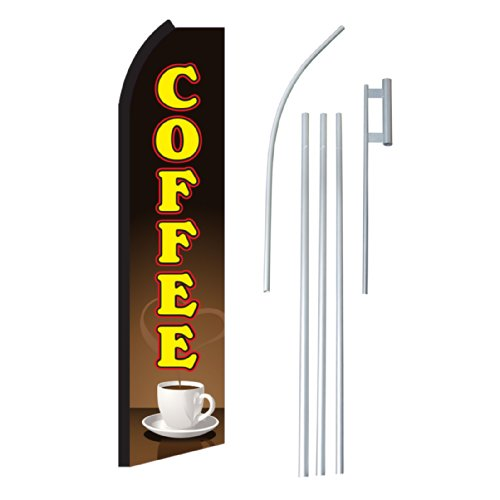 NEOPlex-Coffee-Cup-Complete-Flag-Kit-Includes-12-Swooper-Feather-Business-Flag-With-15-foot-Anodized-Aluminum-Flagpole-AND-Ground-Spike-0