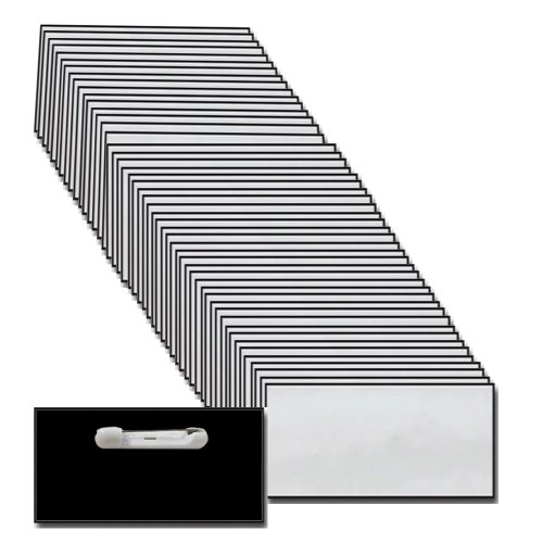 Name-Badges-with-Pin-Fastener-50-Pack-Bulk-Silver-Black-Blank-Plastic-Beveled-Finished-Edges-15-X-3-0