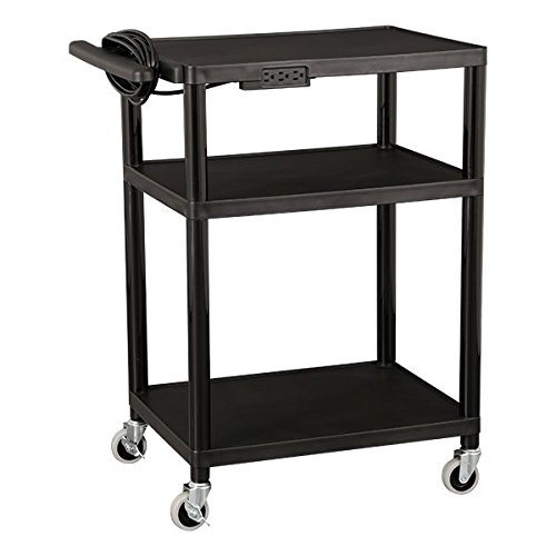 Norwood-Commercial-Furniture-NOR-OUG1042-SO-Adjustable-Height-Mobile-Black-Plastic-Utility-AV-Cart-with-Power-Strip-and-3-Shelves-32-41-Height-18-Width-28-Length-Black-0-0