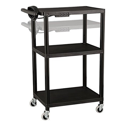 Norwood-Commercial-Furniture-NOR-OUG1042-SO-Adjustable-Height-Mobile-Black-Plastic-Utility-AV-Cart-with-Power-Strip-and-3-Shelves-32-41-Height-18-Width-28-Length-Black-0-1