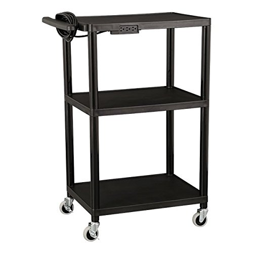 Norwood-Commercial-Furniture-NOR-OUG1042-SO-Adjustable-Height-Mobile-Black-Plastic-Utility-AV-Cart-with-Power-Strip-and-3-Shelves-32-41-Height-18-Width-28-Length-Black-0