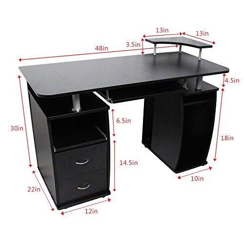 OGIMA-Home-Office-Desk-Dorm-Computer-Workstation-w-Elevated-Shelf-Black-0-0