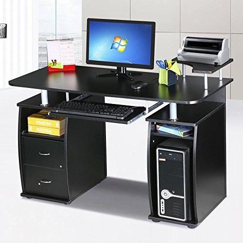 OGIMA-Home-Office-Desk-Dorm-Computer-Workstation-w-Elevated-Shelf-Black-0