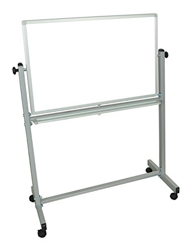Offex-Mobile-Double-Sided-36-x-24-Inches-Reversible-Adjustable-Magnetic-Whiteboard-Easel-with-Chrome-Frame-4-Casters-OF-MB3624WW-0