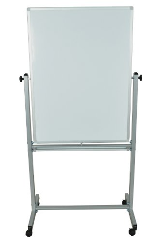 Offex-Mobile-White-Double-Sided-30-X-40-Reversible-Adjustable-Magnetic-Whiteboard-Easel-with-Aluminum-Frame-4-Casters-0