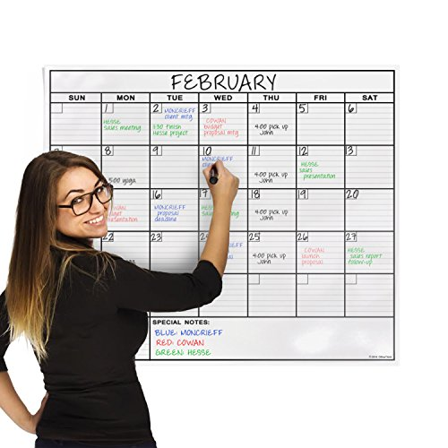 OfficeThink-Laminated-Jumbo-Calendar-Huge-36-Inch-by-48-Inch-Size-Extra-Large-Date-Boxes-Heavy-Duty-LaminatePaper-Never-Folded-Perfect-for-Organizing-Easy-Erase-Bonus-3M-Mounting-Tape-Included-0