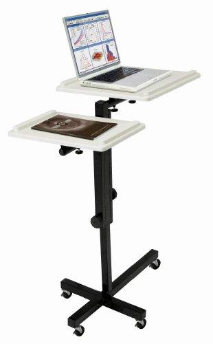 Oklahoma-Sound-PRC100-Steel-Versatile-Presentation-Cart-32-Width-x-28-42-Height-x-18-Depth-Ivory-WoodgrainBlack-0