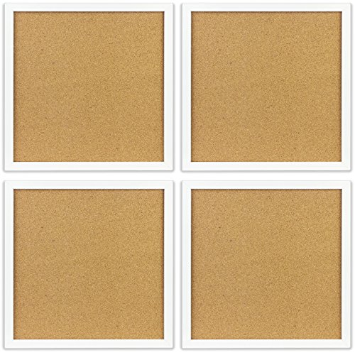 OrgaNice-Cork-Board-Bulletin-Board-4x-Beautifully-Framed-12-x-12-Inch-Tiles-Reinforced-Frame-ZERO-Flaking-Start-Your-Dream-Project-Mounting-Hardware-Included-BONUS-10x-Push-Pins-0-0