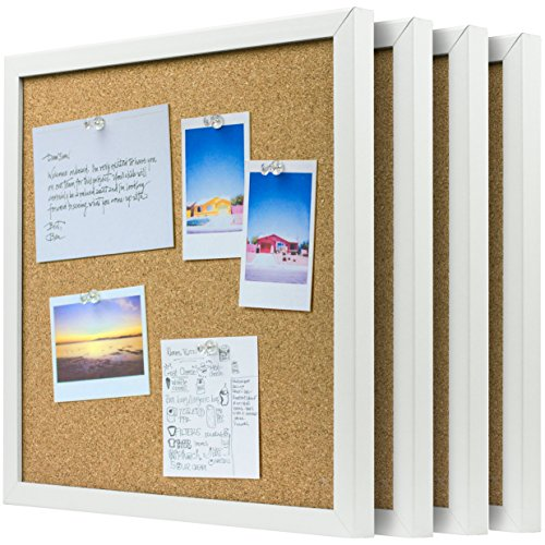 OrgaNice-Cork-Board-Bulletin-Board-4x-Beautifully-Framed-12-x-12-Inch-Tiles-Reinforced-Frame-ZERO-Flaking-Start-Your-Dream-Project-Mounting-Hardware-Included-BONUS-10x-Push-Pins-0