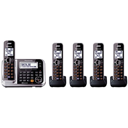 Panasonic-KX-TG7875S-Link2Cell-Bluetooth-Cordless-Phone-with-Enhanced-Noise-Reduction-Digital-Answering-Machine-5-Handsets-BlackSilver-0