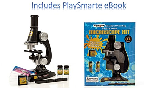 Playsmarte-Kids-Microscope-100X-400X-Inspecting-Dissecting-Zoom-LED-Lights-Microscope-Comes-With-Tweezer-Blank-Slides-Prepared-Slide-blank-labels-For-Kids-with-Ebook-0