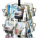 Post-Card-Display-Stand-With-24-Pockets-For-Countertop-Use-28-14-Inches-Tall-Black-Rotating-Wire-Rack-With-Molded-Plastic-Base-And-Sign-Clip-0