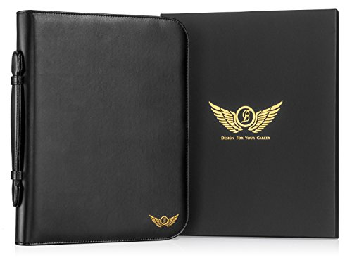Premium-Leather-Portfolio-by-B-Pro-Products-Black-Business-Organizer-with-Pockets-Holders-Slots-and-Pad-for-Executive-Professional-Men-and-Women-0