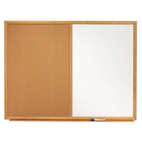 Quartet-Dry-Erase-Board-Cork-Board-Combination-3-x-2-Oak-Finish-Frame-S553-0