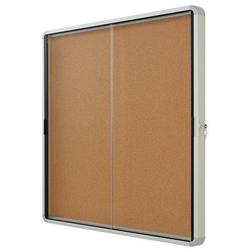 Quartet-Enclosed-Cork-Bulletin-Board-38-x-39-or-12-Sheets-2-Sliding-Doors-Aluminum-Frame-EISC3938-0-0