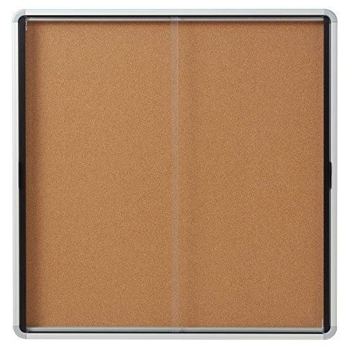 Quartet-Enclosed-Cork-Bulletin-Board-38-x-39-or-12-Sheets-2-Sliding-Doors-Aluminum-Frame-EISC3938-0