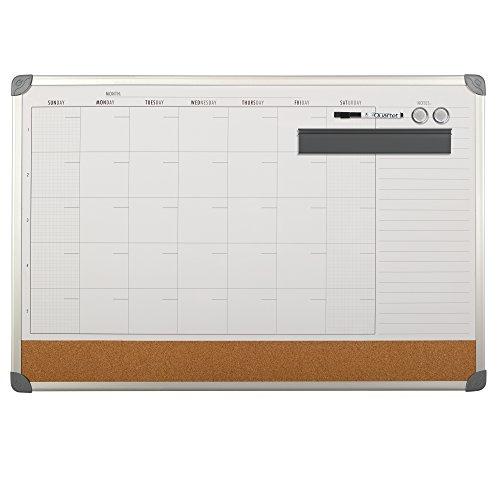 Quartet-Magnetic-Calendar-Combination-Board-Whiteboard-3×2-Silver-Aluminum-Frame-13770-0