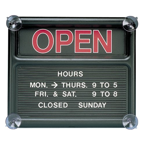 Quartet-Open-and-Closed-Sign-14-x-12-Inches-Black-8130-1-0