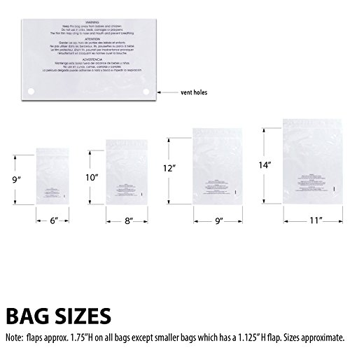 Rel-Co-400-Piece-Multi-Pack-of-Clear-Poly-Bags-With-Space-Saving-Vent-Holes-Self-Sealing-Suffocation-Warning-Strong-15-mil-4-sizes-100-each-6×9-8×10-9×12-11×14-Packaging-Bags-0