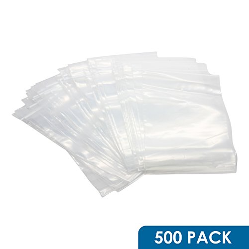 Rok-Hardware-Pack-of-500-Heavy-Duty-5-x-8-Resealable-4Mil-Thick-Plastic-Clear-Poly-Zip-Lock-Food-Safe-Storage-Bags-0