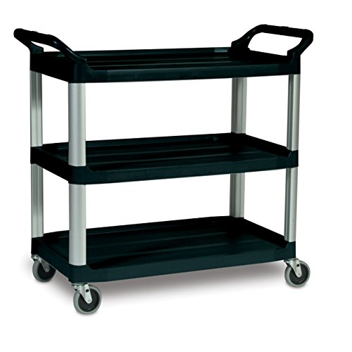 Rubbermaid-Commercial-409100-BLA-XTRA-Service-and-Utility-Cart-3-Shelf-Open-Sided-Black-0-0
