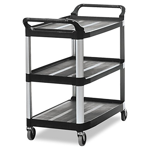 Rubbermaid-Commercial-409100-BLA-XTRA-Service-and-Utility-Cart-3-Shelf-Open-Sided-Black-0