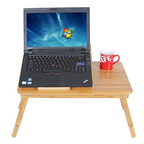 SONGMICS-Bamboo-Laptop-Desk-Adjustable-Breakfast-Serving-Bed-Tray-w-Tilting-Top-Drawer-ULLD001-0-0